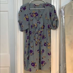 Rebecca Taylor 100% silk smocked floral dress